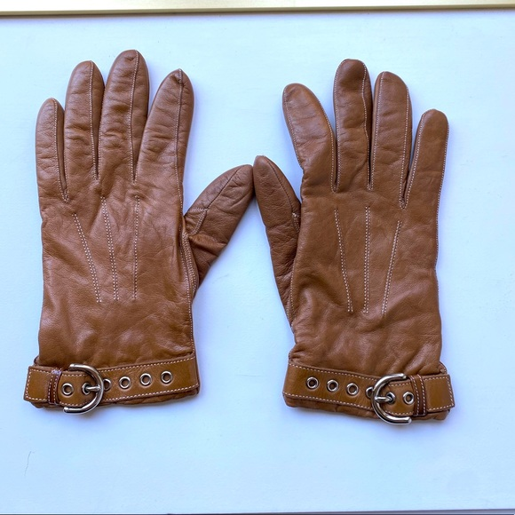 Coach Women's Tan Leather Cashmere Gloves - 7.5